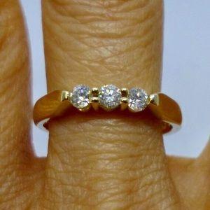 Jewelry - 3 Diamond 14K Stacking or Wedding Band Size 6.75